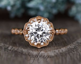 Brilliant Round Cut Vintage Floral Engagement Ring in 14k Rose Gold, Bridal Ring, Round Cut, Promise Ring,Wedding Ring by Sapheena