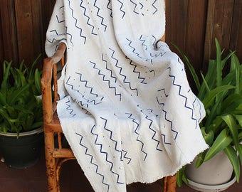 "African Mud Cloth Fabric, Mudcloth, Blue and White Bogolan Throw,  68"" x 41""  #235BWB"
