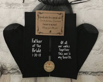 Father of the Bride Gift, FREE sock wrap, Father Gift, Of all our walks together this is my favorite; Cold Feet available