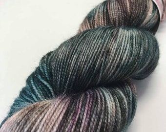 Hand Dyed Yarn Oddball Teal Brown Plum Variegated Sparkle 100g Hank Approx 400m Sock 4Ply Fingering 75% Superwash Merino Mulesing Free