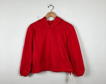90s Bright Red Pullover Hoodie Size Small
