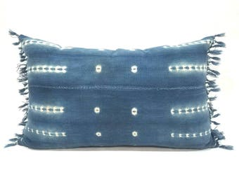 "14""x 22"" African indigo mudcloth pillow cover with fringe"