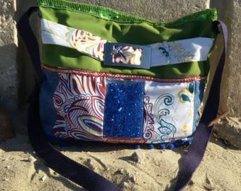 very original bag in denim, cotton cloth and cotton printed