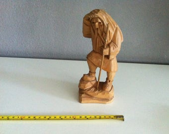 Vintage wood carved figure mountain to climbers hand carved, carved wood, carving