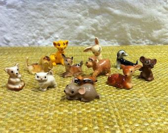 Vintage collection 12 pieces miniature porcelain and plastic animals