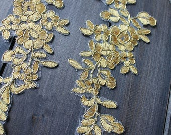 1 pair Lace Applique Trim Appliques in Gold for Weddings, Sashes, Veils,   Headpieces, WL1492