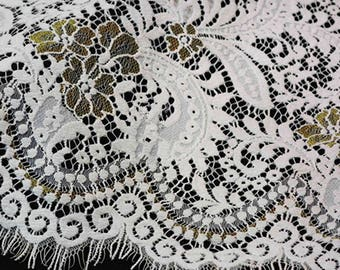 White Flower Eyelash Lace Fabric Lace Trim 59.05 Inches Wide 1.64 Yards/ Craft Supplies, WL1468