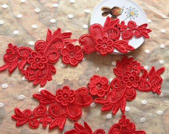 1 Pair Lace Applique Solubility Embroidery Trim Appliques in Red for Dress,DIY,Headpieces, WL915