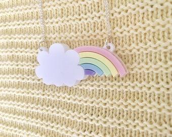 Peeking Rainbow Acrylic Necklace In Pastel