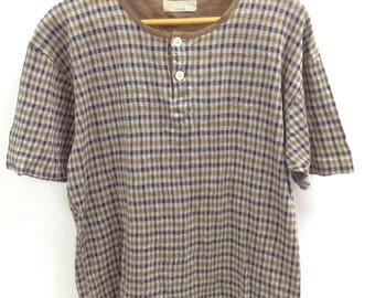 Vintage 90s Aquascutum London Checked Button Tshirt Rare Design Size Large