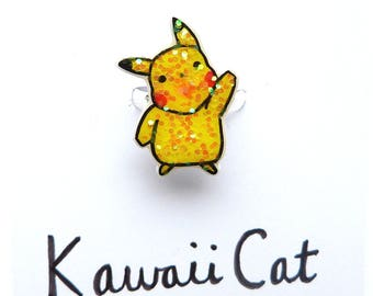 Silver Plated Pikachu Ring Pikachu Jewellery Cute Adjustable Ring Kawaii Ring Kawaii Jewelry Pika Accessories