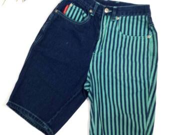 Bugle Boy Two-Tone Denim Shorts, Jean Shorts, Vtg 90s, Four Aces, Sz 3/XS, Dark Denim Mint Green Stripe, Cross Colors, Slim Fit High Waist
