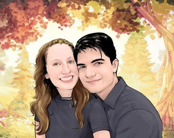Custom Couple Portrait Painting from Photo. Gift for couple. Couple Portrait Illustration. Gift for him. Engagement and Wedding Gift.
