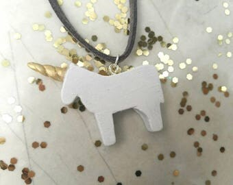 Unicorn necklace - unicorn gift - wooden necklace - handmade necklace - unicorn lover - upcycled wood - statement necklace - vegan leather