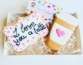 Valentines cookies // love you a latte  // love // valentines day // Wedding cookies //  wedding  // engagement favor // wedding favors //