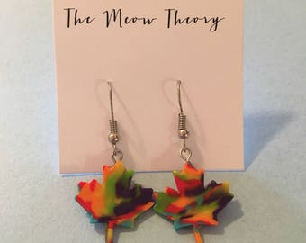 Pride Canada leaf earrings