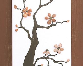 Pebble art, cherry tree decor, flowers decor, pebbles art, pebble picture, rock art, stone art, 3D picture, wall art