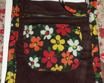 shoulder bag in fabric and Brown velvet flower 14 cm x 15 cm