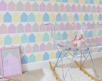 Wallpaper Beach Huts in Pastel Girls Decor Wall Decoration Kids Bedroom Wallpaper