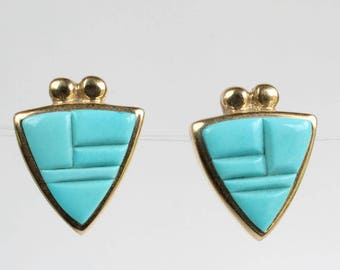 14k Turquoise Earrings Navajo Indian 14k Gold Native American
