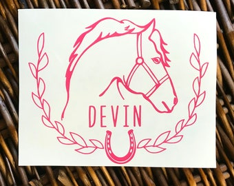 Horse Decal, Name Decal, Yeti Decal, Vinyl Decal, Car Decal, Car Sticker, Horse, Personalized,  Name Decal, Horseback Riding
