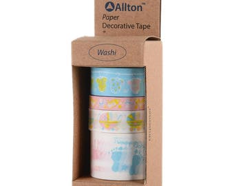 Baby Washi Tape with Dispenser 5m 4/Pkg - Allton