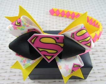 Woven Headband Inc Boutique Bow - Supergirl