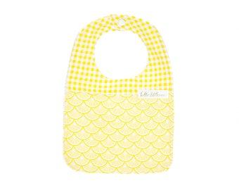 Lemon Baby Bib - Handmade Baby Bib - Lemonade Yellow Gingham Baby Bib - Drool Bib - Baby Girl Bib - Baby Boy Bib - Citrus Summer Bib