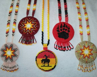 Beaded Medallion Authentic Native American Jewelry Beaded Necklace Sunburst  Medallion Sunburst design Traditional necklace Starburst Dally