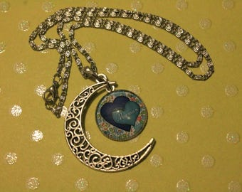 MOM in the Moon, blue necklace