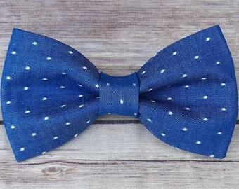 Blue Dog Bow Tie / Chambray Dog Bow Tie / Polka Dot Cat Bow Tie /  Bow Tie  / Collar Bow Tie / Boy Dog Bow Tie / Pet BowTie / Dog Gift