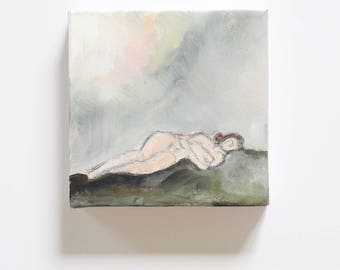 Fields of Green on Canvas / Figure Painting / Original Oil  /  Naked Lady Art / Nude Drawing