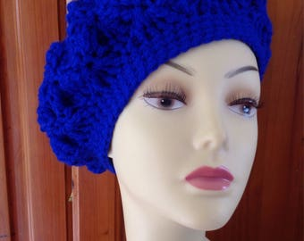 Ladies hand crochet, chunky knit beret, beanie hat, hand made in royal blue