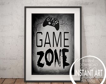GAME ZONE SIGN - video game art - video game poster - game zone - man cave decor - game room - teenage bedroom - gamer - xbox controller