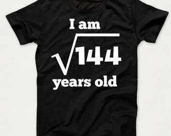 Square Root of 144 12 Years Old Funny 12th Birthday Kids T-Shirt
