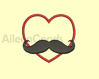 Heart Mustache Applique design 6 Size INSTANT download machine embroidery