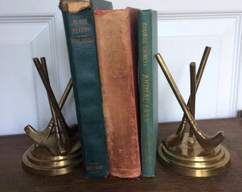 Vintage Brass Golf Club Bookends - Putter - Driver