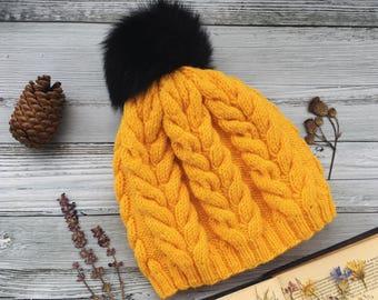 Pom pom hat Chunky knit hat for woman beanie hat Cable knit hat woman wool knit hat yellow winter knit hat winter gitf Woman knit beanie