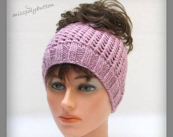 Pink Knit Headband, Earwarmer, Running Heandband, Messy Bun Or Ponytail Headband, Wide Headband