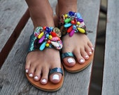 "Boho sandals ""Mermaid"", Beaded sandals, Greek sandals, Handmade sandals, Colorful sandals, Hipie sandals, Ethnic sandals"