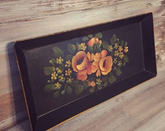 Vintage Black Floral Tole Metal Tray Rectangular, French, Shabby