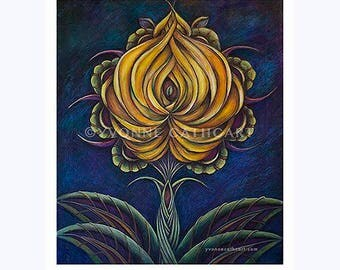 Flower art print, living room wall art, kitchen art, bedroom wall art, yellow flower, abstract flower print, spiritual art, flower art
