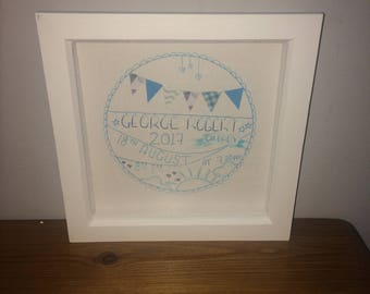 Personalised baby frame / New baby / Nursery / Gift