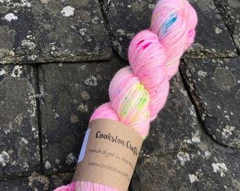 100g 100% Superwash Merino DK Double Knit yarn, hand dyed in Scotland, pastel pink with turquoise, pink and green speckles