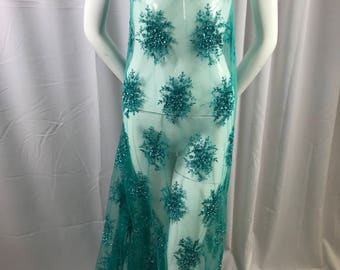 Lace Fabric - Teal Gaviota Design Embroider Beaded Mesh Dress Wedding Decoration Bridal Veil Nightgown By The Yard