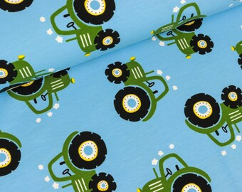 Cotton Jersey tractors green on light blue