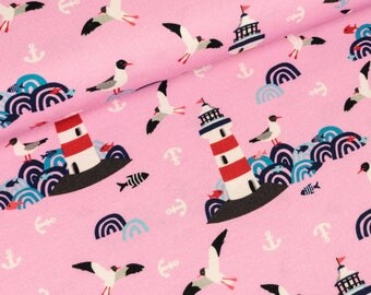Cotton Jersey Lighthouse Island Rosa by Lila Lotta (16.50 EUR/Meter)