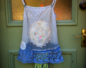 Upcycled Recycled Reclaimed Chemise Embellished Vintage Linens Lace