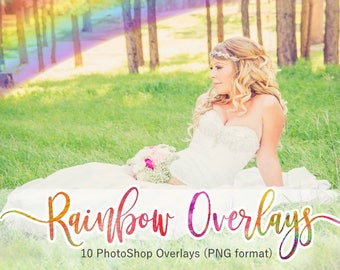 Rainbow Overlays / Rainbow Clipart / Instant Download / Digital DL / Photoshop Overlay / Transparent PNG / PNG Rainbow / Nature Overlays