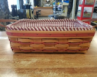Longaberger basket with plastic protector and fabric liner